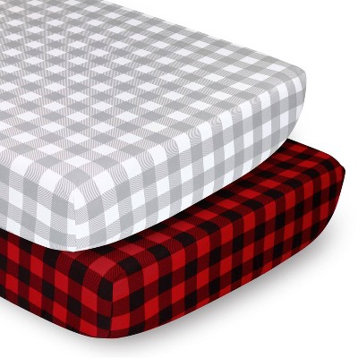 The Peantushell Sheets Red Buffalo Plaid/Gray Plaid 2pk