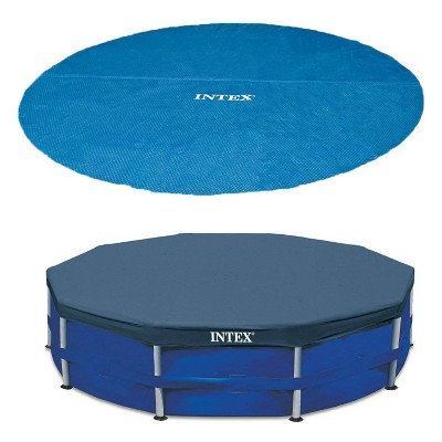 Intex 15 Foot Round Debris Cover and Vinyl Solar Cover for Above Ground Pools