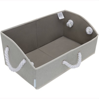 StorageWorks Set of 2 Fabric Storage Bins with Cotton Rope Handles and Low Front Wall Comfort