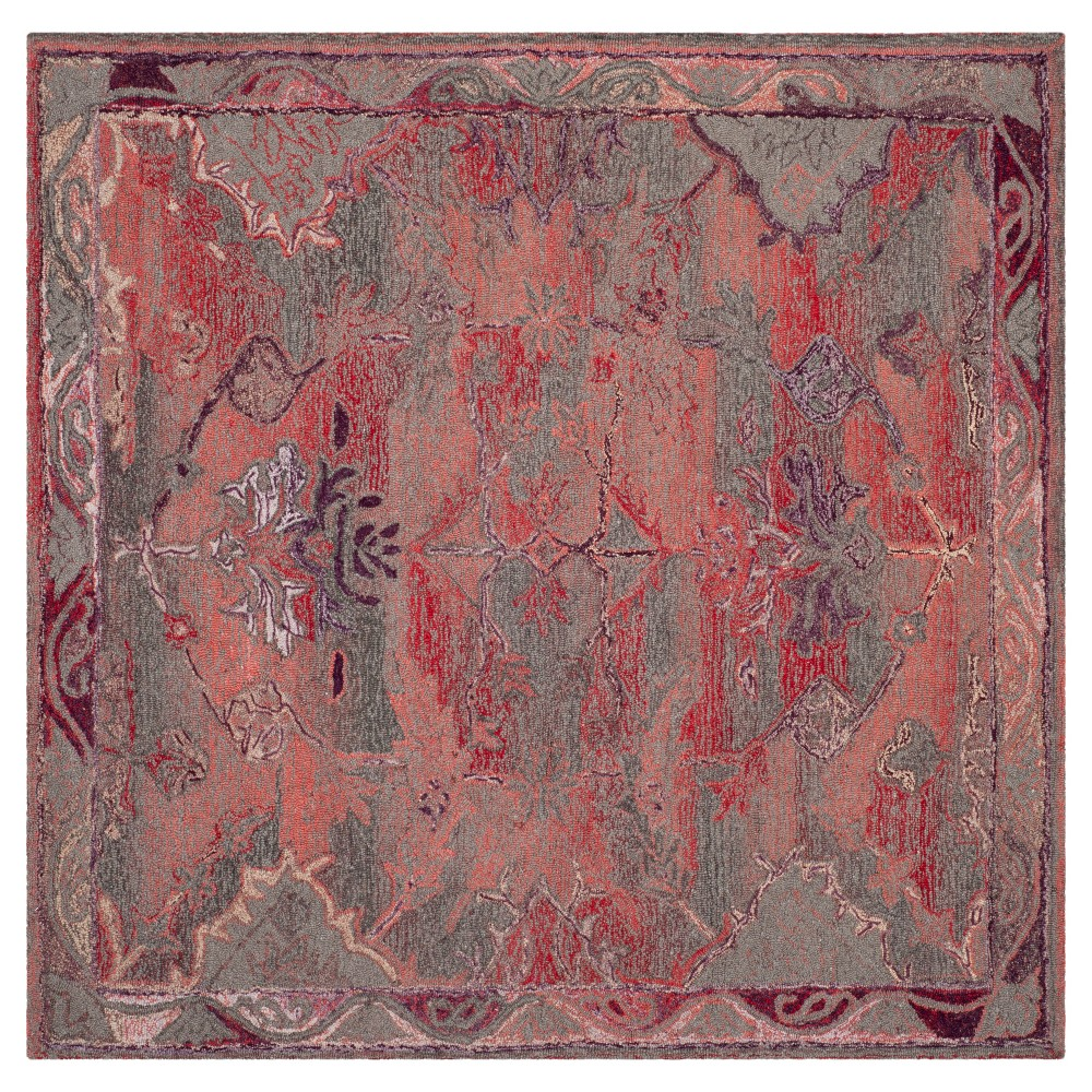 Red Solid Tufted Square Area Rug 6 39 X6 39 Safavieh