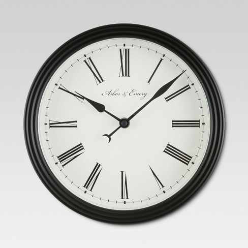 "Roman 10 "" Wall Clock Black - Threshold™ - image 1 of 2"