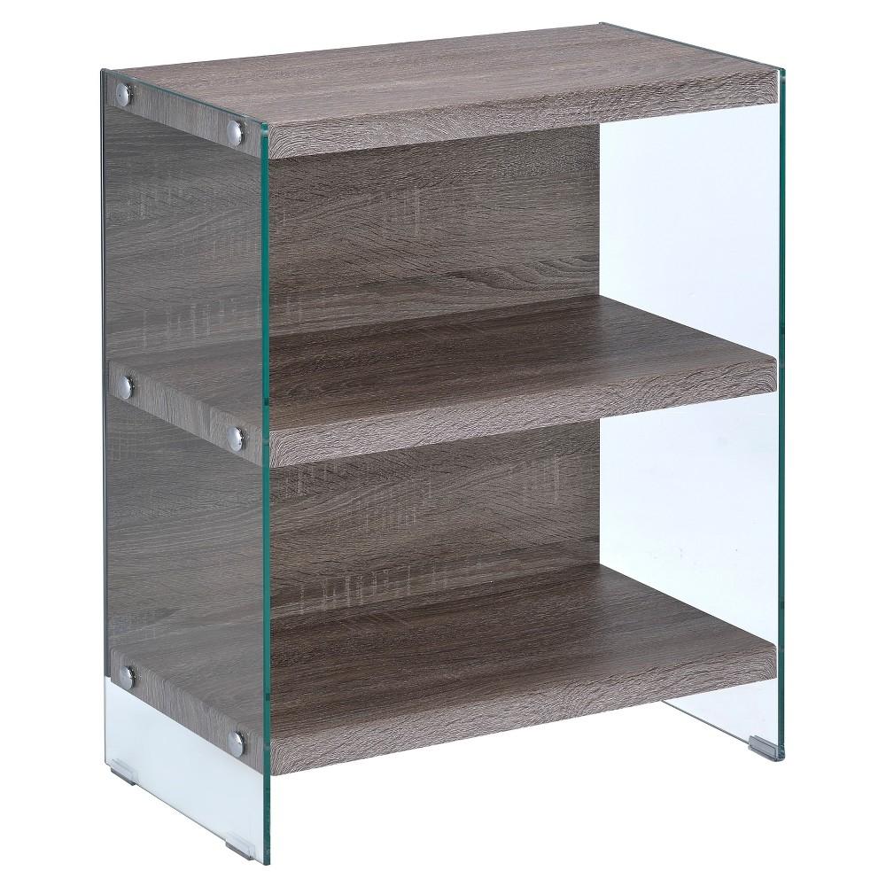 "Image of ""30"""" Decorative Bookshelf Clear Gray Oak - Acme Furniture"""