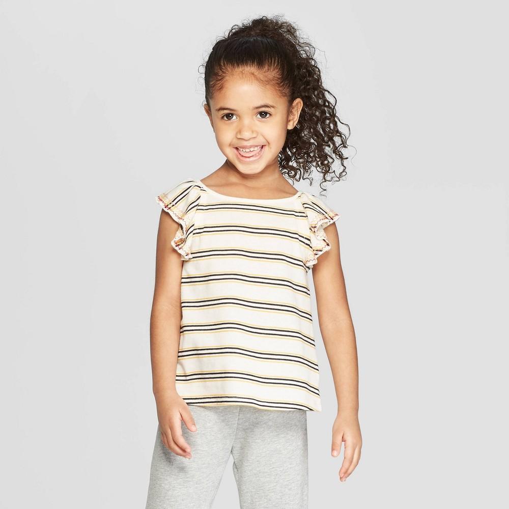 Toddler Girls' Flutter Sleeve Tank Top - art class Cream 5T, White