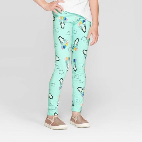 Girls' Panda Print Leggings - Cat & Jack™ Mint - image 1 of 3