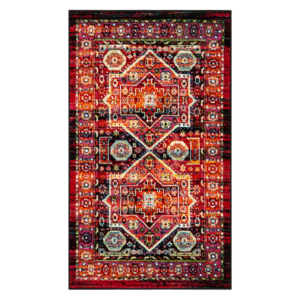 3X5 Geometric Design Loomed Accent Rug Black/Orange - Safavieh Coupons