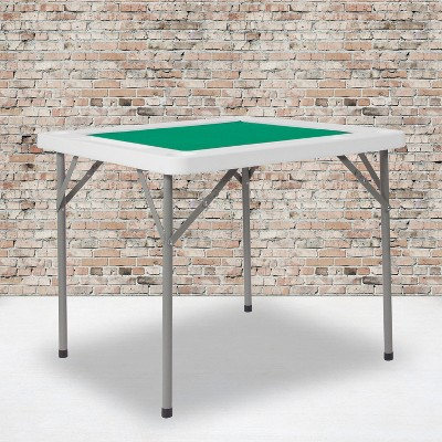 "Flash Furniture 34.5"" Square 4-Player Folding Card Game Table with Green Playing Surface and Cup Holders"
