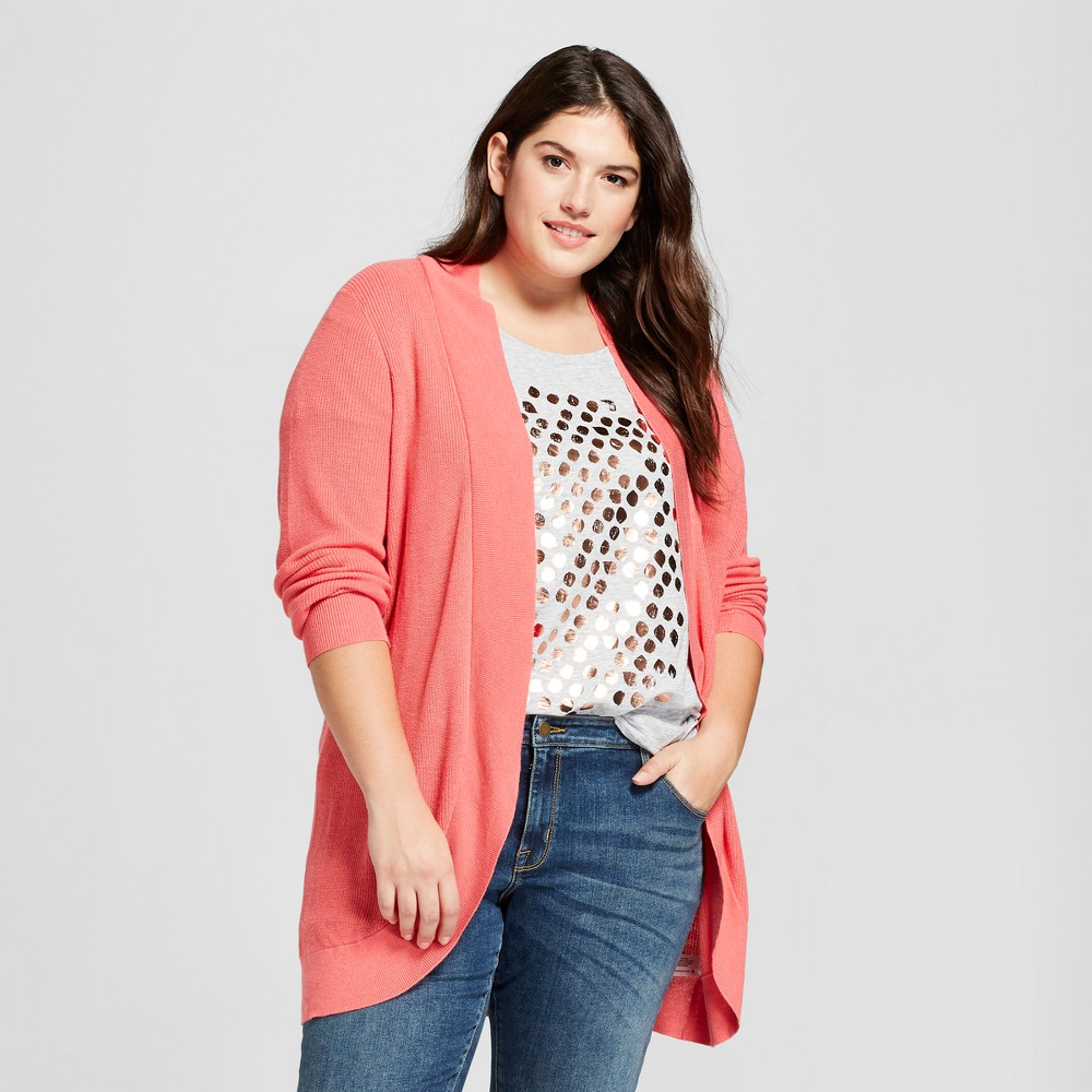 Women's Plus Size Long Sleeve Textured Cardigan - A New Day Pink X