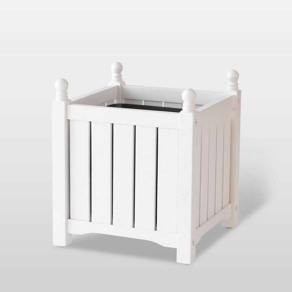 "Image of ""14"""" Wooden Lexington Square Planter White - DMC Products"""