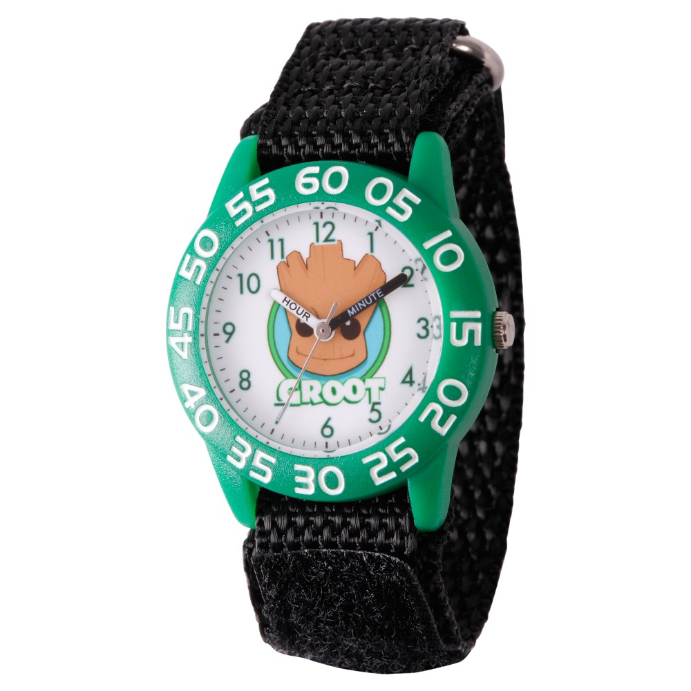 Boys' Marvel Guardians Of The Galaxy Evergreen Groot Plastic Time Teacher Watch - Black