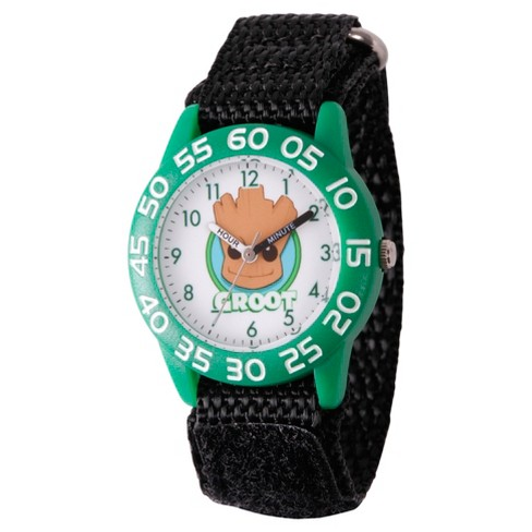 Boys' Marvel® Guardians Of The Galaxy Evergreen Groot  Plastic Time Teacher Watch - Black - image 1 of 2