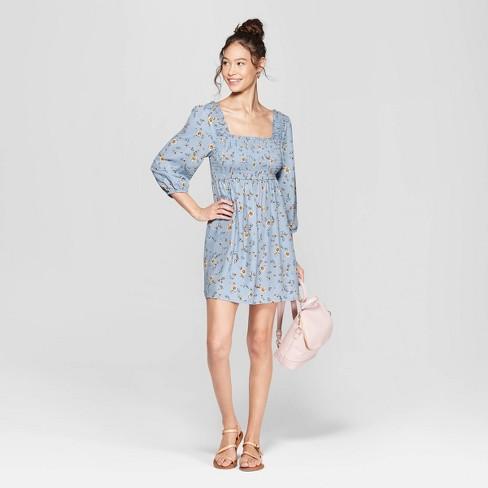 9dd9bd95d4710b Women s Floral Print 3 4 Sleeve Square Neck Off the Shoulder Smocked Top  Dress - Xhilaration™