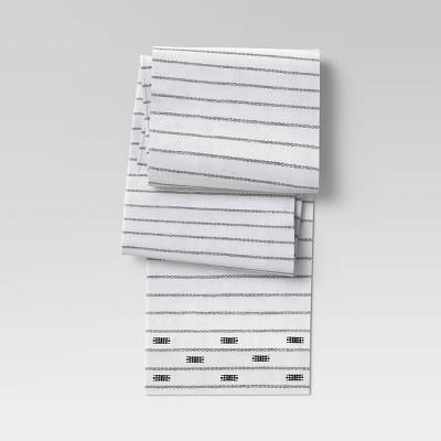 """108"""" x 14"""" Cotton Global Table Runner Black/White - Threshold™"""