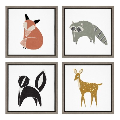 """4pc 13"""" x 13"""" Sylvie Modern Animal Framed Canvas Wall Art by Stacie Bloomfield Gray - Kate and Laurel"""