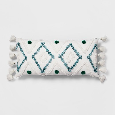 Teal Diamond Tufted Lumbar Throw Pillow - Opalhouse™