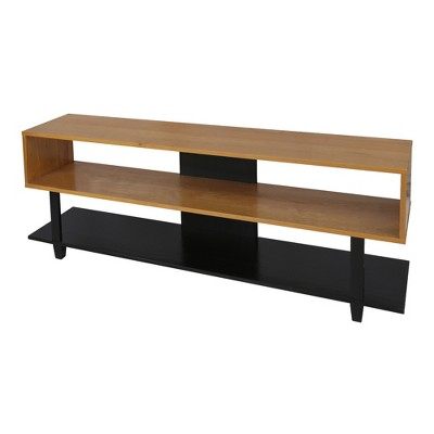 Creek TV Stand with Solid American Natural Cherry/Black - Flora Home