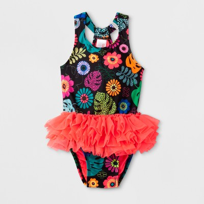 Baby Girls' Floral One Piece Swimsuit - Cat & Jack™ Black 9M
