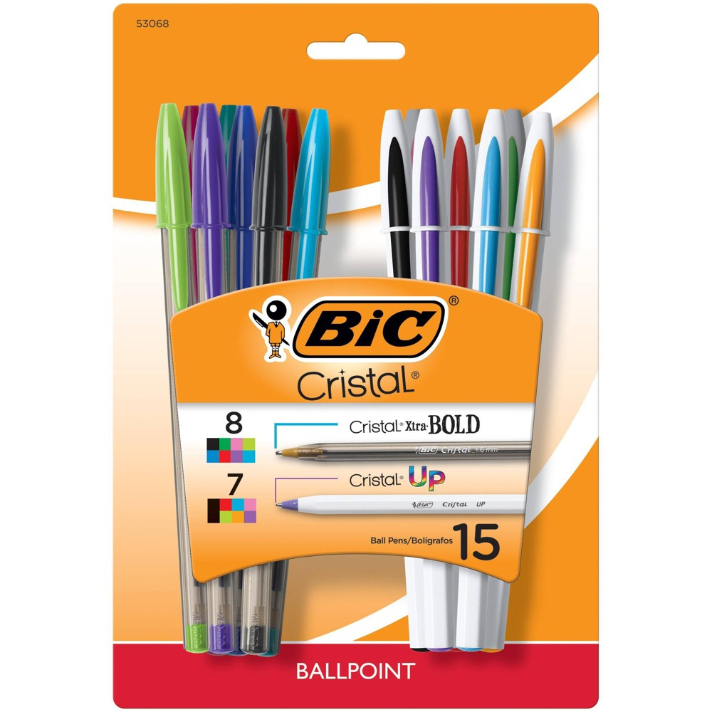 Image of 15pk Ballpoint Pens Cristal Up/Bold Combo - BIC