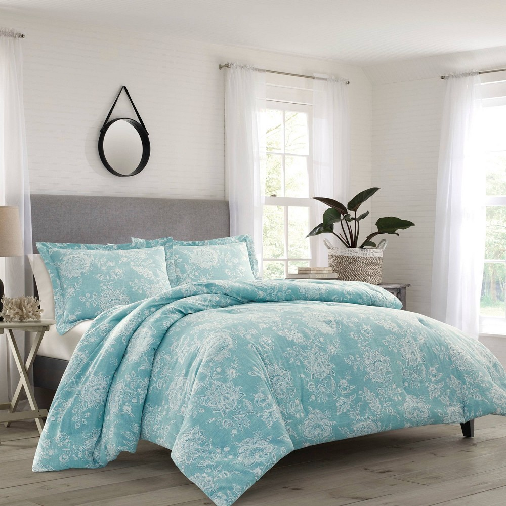 Image of Relax By Tommy Bahama Full/Queen Tidewater Jacobean Comforter & Sham Set Blue