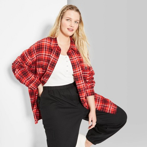 Women's Plus Size Plaid Long Sleeve Oversized Button-Down Flannel Shirt - Wild Fable™ - image 1 of 3