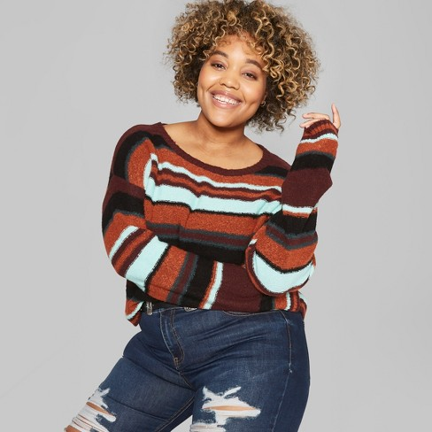 Womens Plus Size Long Sleeve Vintage Crew Striped Sweaters Wild