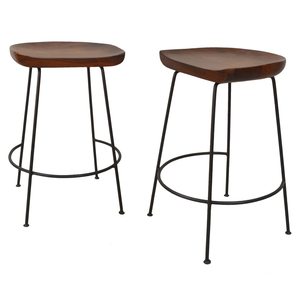 "Image of ""24.5"""" Bryson Counter Stool Chestnut Brown/Black - Carolina Chair & Table"""