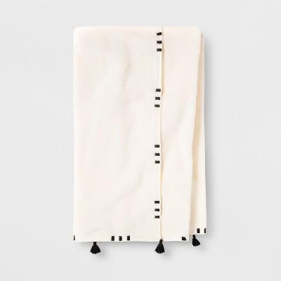 Embroidered Hem Bath Towel Black/Cream - Opalhouse™
