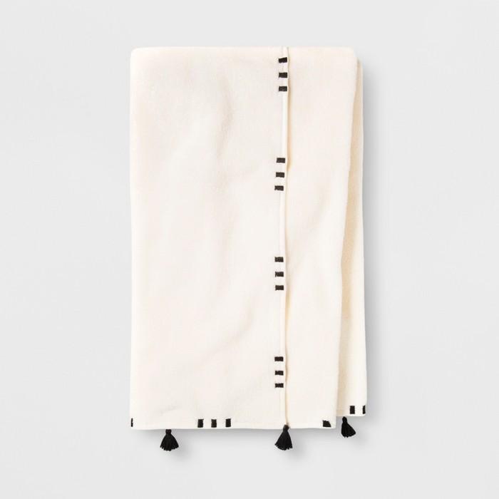 Embroidered Hem Towel Black/Cream - Opalhouse™ - image 1 of 2