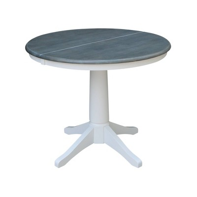"""36"""" Dining Height Morse Round Top Pedestal Drop Leaf Dining Table White/Heather Gray - International Concepts"""
