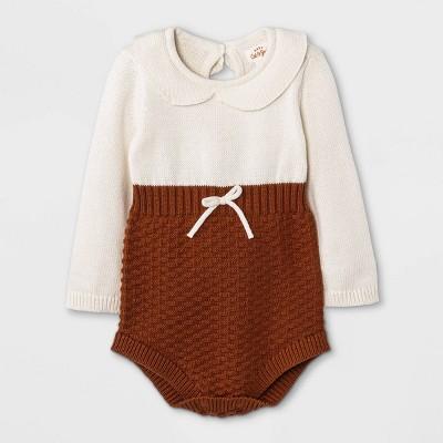 Baby Girls' Peter Pan Collar Sweater Romper - Cat & Jack™ Brown 3-6M