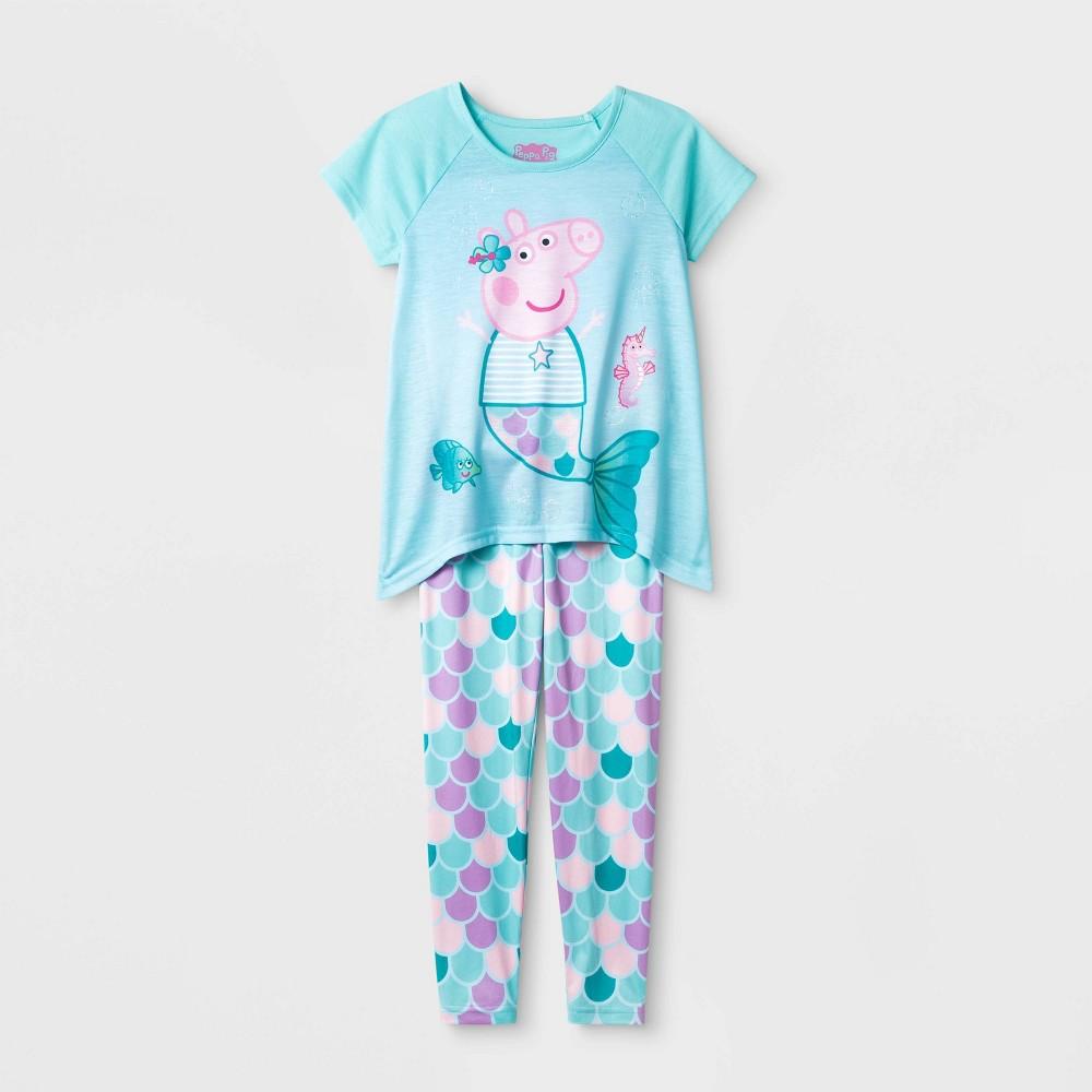 Image of Girls' Peppa Pig 2pc Pajama Set - Blue 4, Girl's