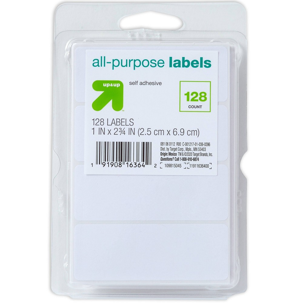 128ct 1 34 X2 75 34 Rectangular Labels White Up 38 Up 8482