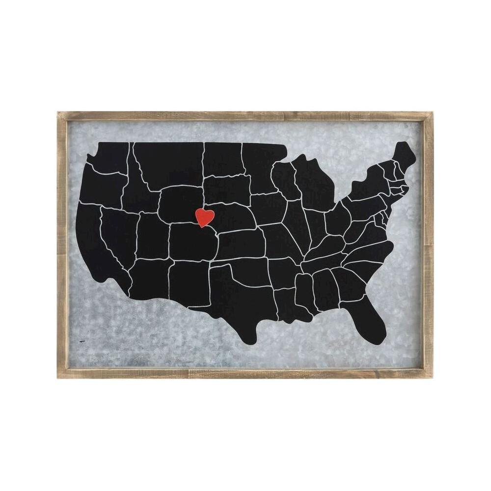 Pine & Steel Memo Board with Heart Magnet - 3R Studios, Brown