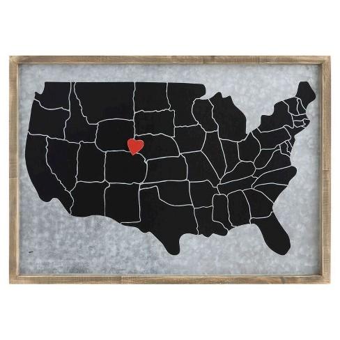 Pine & Steel Memo Board with Heart Magnet - 3R Studios - image 1 of 1