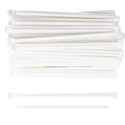 Juvale 250 White Paper Drinking Straw Individual Wrapped Disposable Biodegradable 7.75""