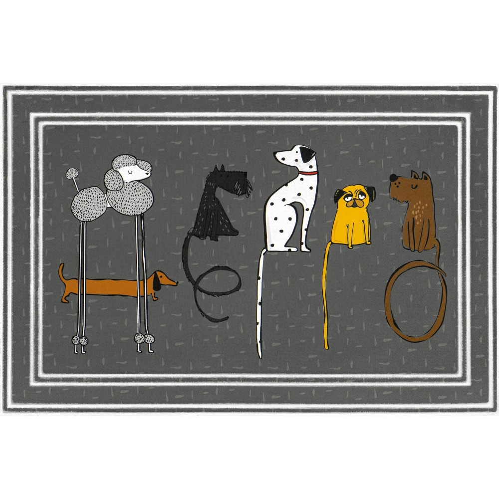 Image of 2'x3' Fashionables Deluxe Hello Dogs Doormat Gray - Apache Mills