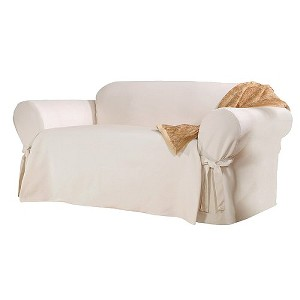 Cotton Sailcloth Loveseat Slipcover Natural - Sure Fit