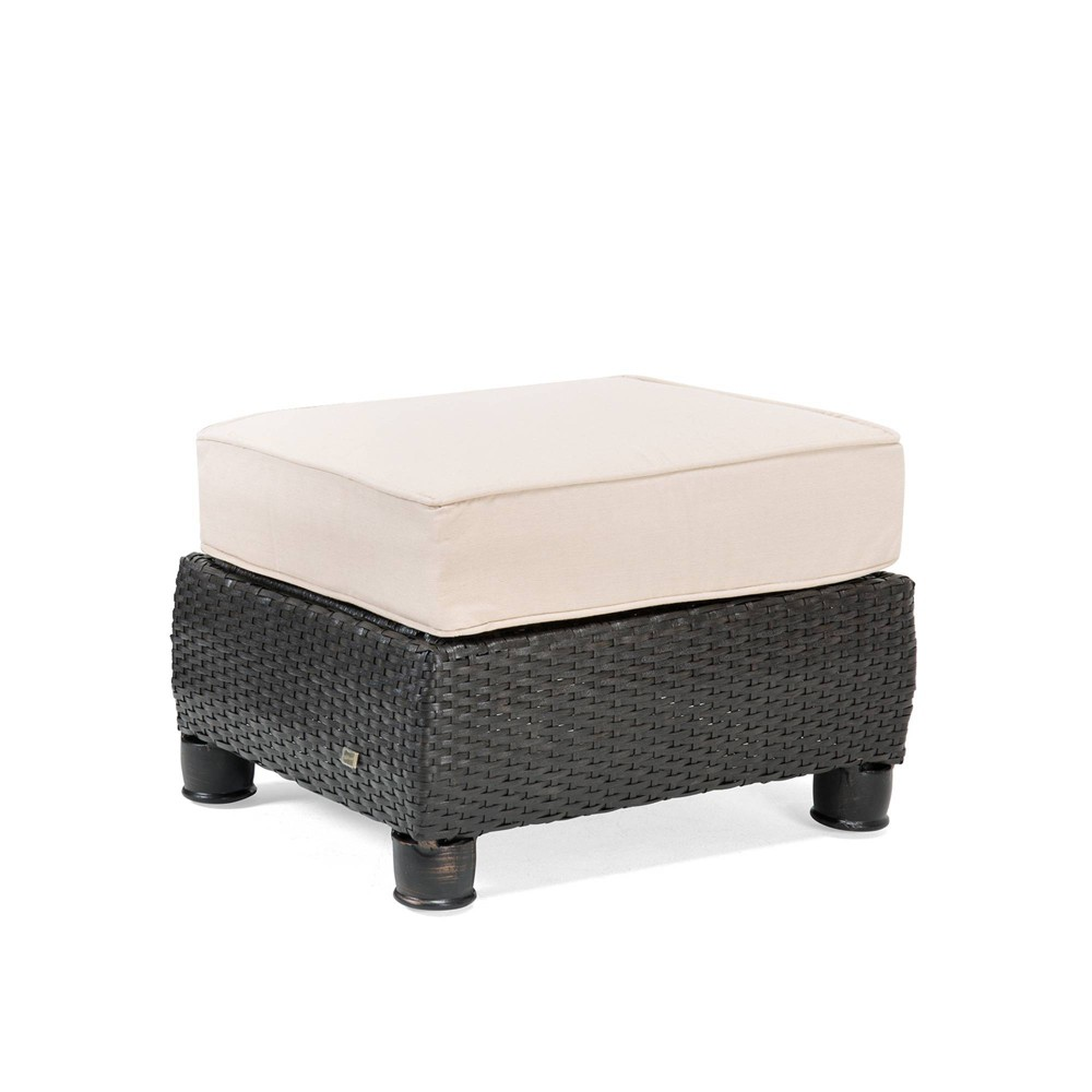 Image of Breckenridge Wicker Outdoor Ottoman with Sunbrella Spectrum - Sand - La-Z-Boy