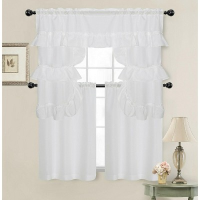 Kate Aurora Country Farmhouse Living Solid Colored Cafe Kitchen Curtain Tier & Swag Valance Set