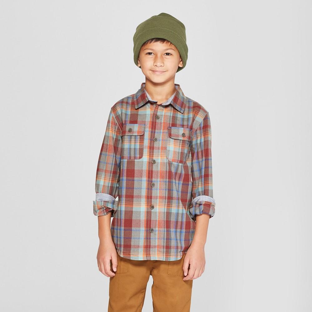 Boys' Wicking Long Sleeve Button-Down Shirt - Cat & Jack L Husky, Red
