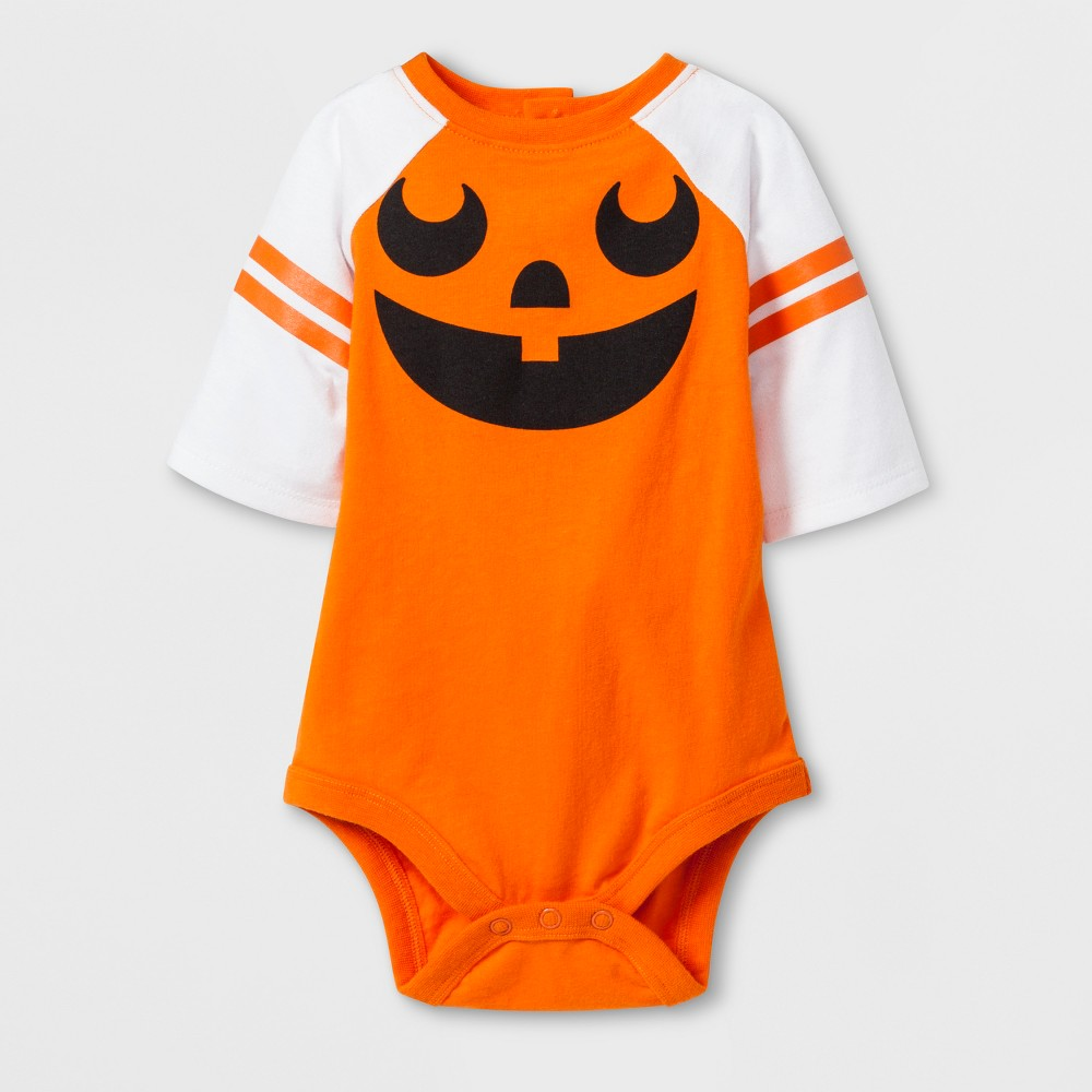 Baby 3/4 Sleeve Jack'o'Lantern Raglan Bodysuit - Cat & Jack Orange 12M, Infant Unisex