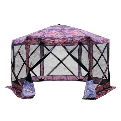Outsunny 12' x 12' 6-Sided Hexagon Pop Up Party Tent Gazebo with Mesh Netting Walls & Shaded Interior