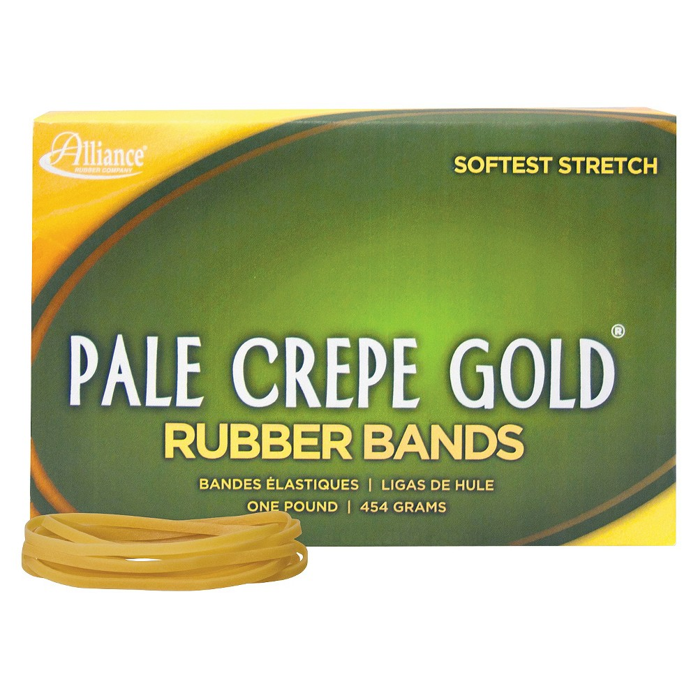 Image of Alliance Pale Crepe Gold Rubber Bands, Size 33, 3-1/2 x 1/8, 1lb Box