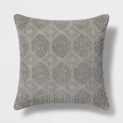 Washed Chenille Square Throw Pillow Gray - Threshold™
