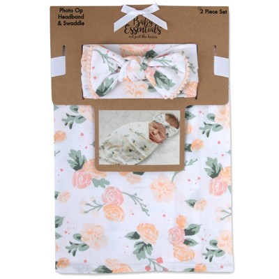 Baby Essentials Rose Floral Swaddle Blanket and Headband