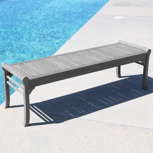 Cool Wood Backless Outdoor Bench In Natural Gray Pemberly Row Ncnpc Chair Design For Home Ncnpcorg