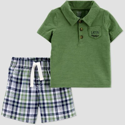 Baby Boys' 2pc Plaid Gator Top & Bottom Set - Just One You® made by carter's Green 9M