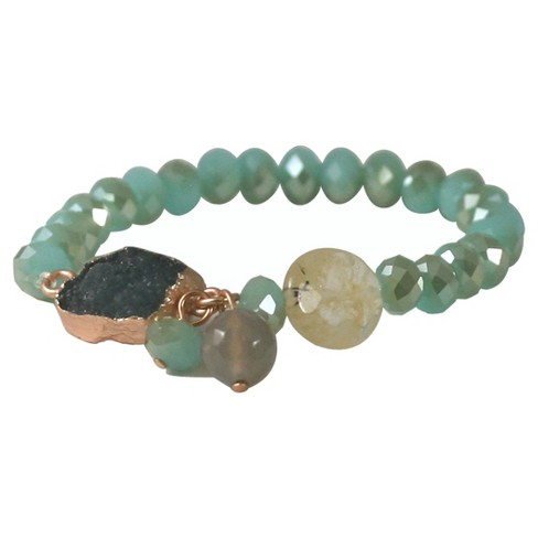 Zirconite® Semi-Precious Roundel Beads Stretch Bracelet with Genuine Druzy Stone - image 1 of 1