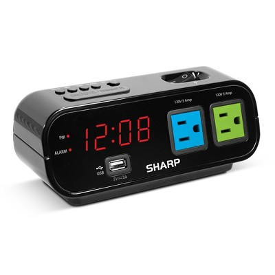 Outlet Digital Alarm Clock Black - Sharp