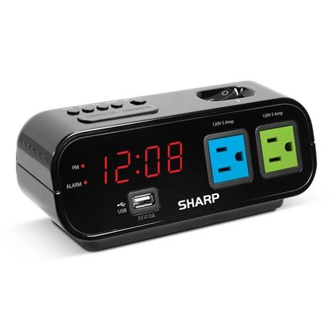 Outlet Digital Alarm Clock Black - Sharp® - image 1 of 4