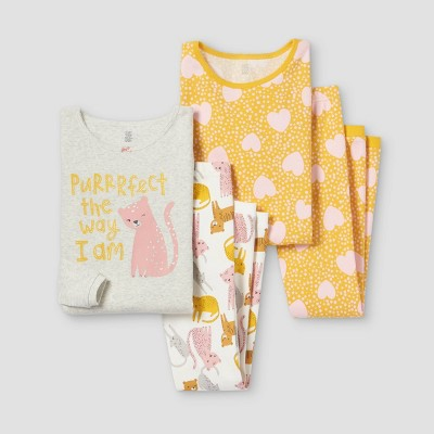 Girls' 4pc Cats Pajama Set - Just One You® made by carter's Yellow/White/Gray